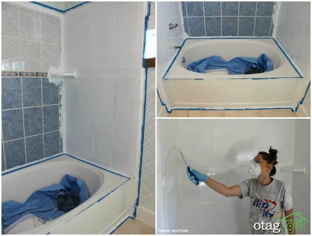 رنگ آمیزی کاشی دیوار حمام و سرویس بهداشتی